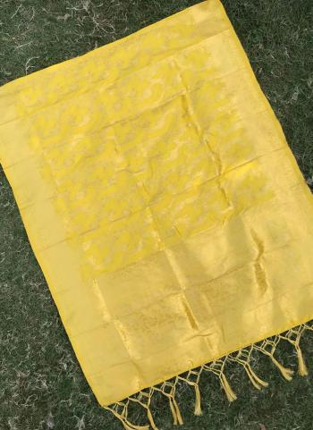Silk Yellow Party Wear Zari Work Dupatta