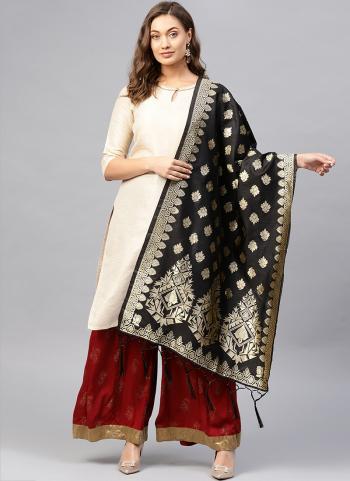 Silk Black Wedding Wear Zari Work Dupatta