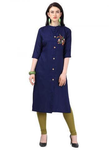 Rayon Embroidery Work Navy Blue Office Wear Kurti