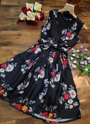 Black Crepe Casual Wear Printed Work Dress