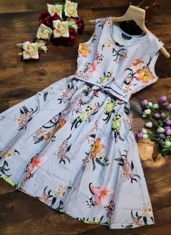 Grey Crepe Casual Wear Printed Work Dress