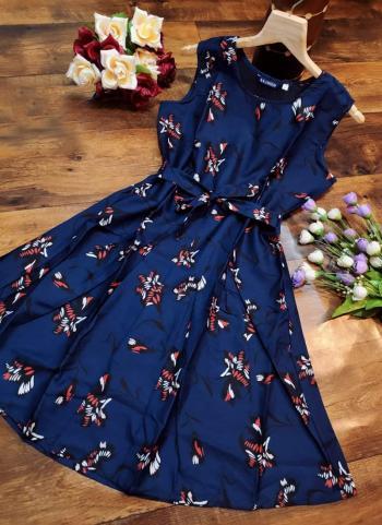 Navy Blue Crepe Casual Wear Printed Dress