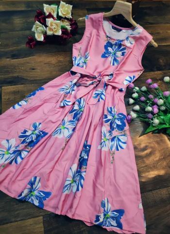 Pink Crepe Casual Wear Printed Work Dress