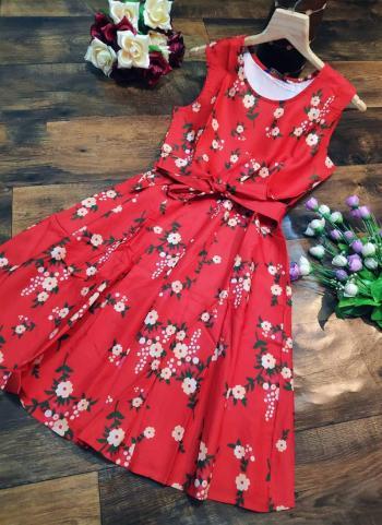 Red Crepe Casual Wear Printed Work Dress