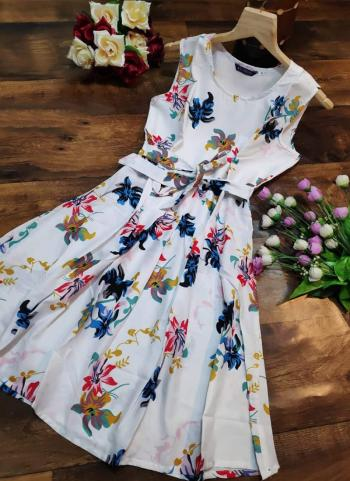 White Crepe Casual Wear Printed Dress