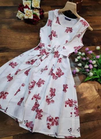 White Crepe Casual Wear Printed Work Dress