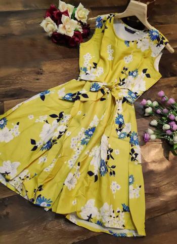 Yellow Crepe Casual Wear Printed Work Dress