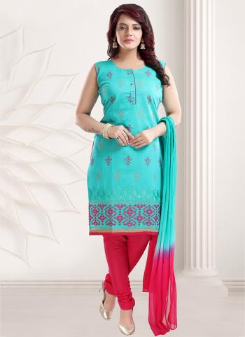Firozi And Pink Chanderi Party Wear Embroidery Work Readymade Churidar Suit