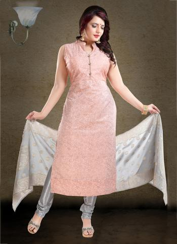 Peach Chanderi Party Wear Printed Work Readymade Churidar Suit