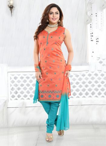 Pink And Sky Blue Chanderi Party Wear Embroidery Work Readymade Churidar Suit