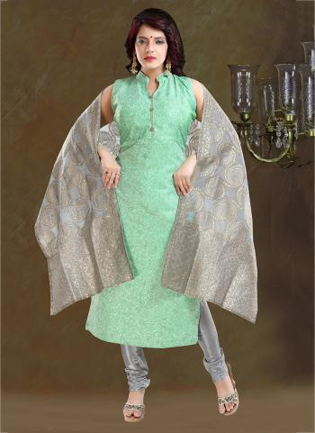 Pista Green Chanderi Party Wear Printed Work Readymade Churidar Suit