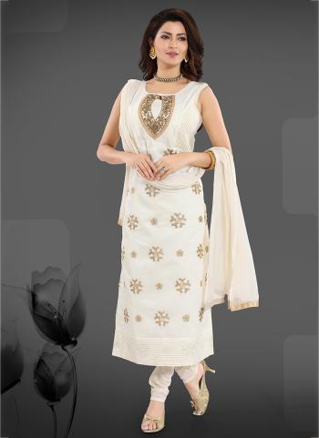 White Chanderi Party Wear Hand Work Readymade Churidar Suit