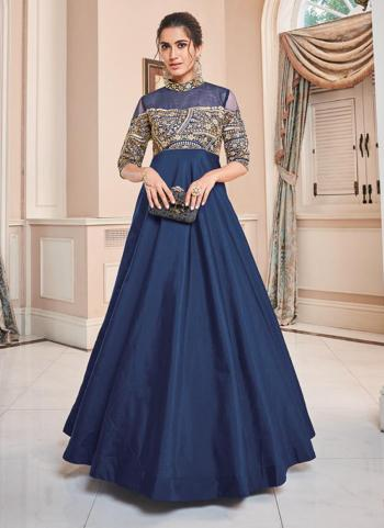 Blue Tapeta Silk Party Wear Embroidery Work Gown
