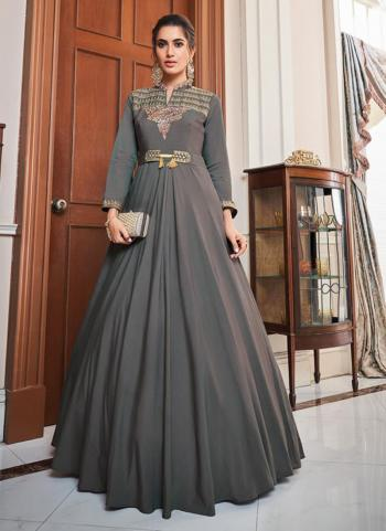 Grey Tapeta Silk Party Wear Embroidery Work Gown