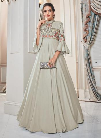 Light Grey Tapeta Silk Party Wear Embroidery Work Gown