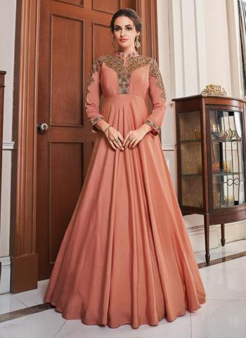 Pink Tapeta Silk Party Wear Embroidery Work Gown