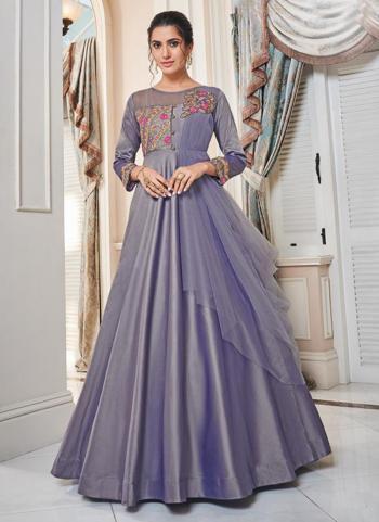Purple Tapeta Silk Party Wear Embroidery Work Gown