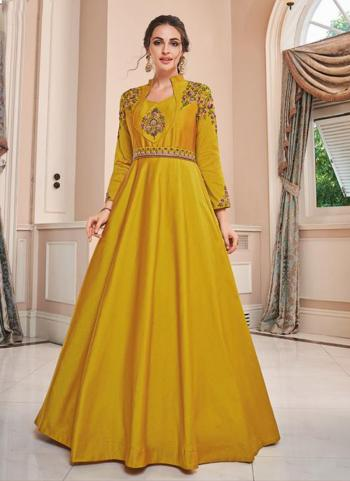 Yellow Tapeta Silk Party Wear Embroidery Work Gown