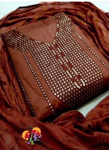 Brown Lawn Cotton Casual Wear Sequins Work Salwar Suit