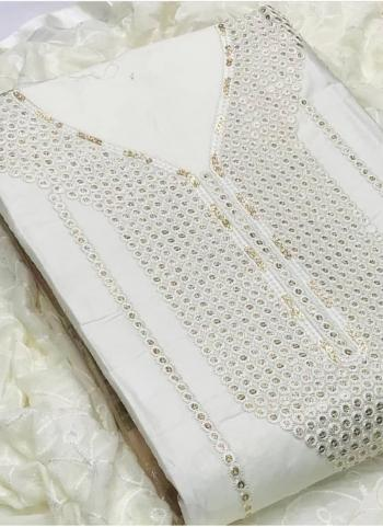 White Lawn Cotton Casual Wear Sequins Work Salwar Suit