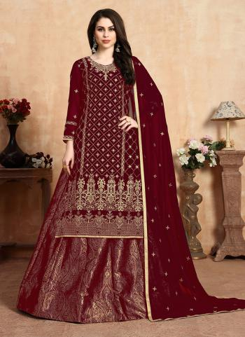 Maroon Faux Georgette Traditional Wear Embroidery Work Lehenga Suit