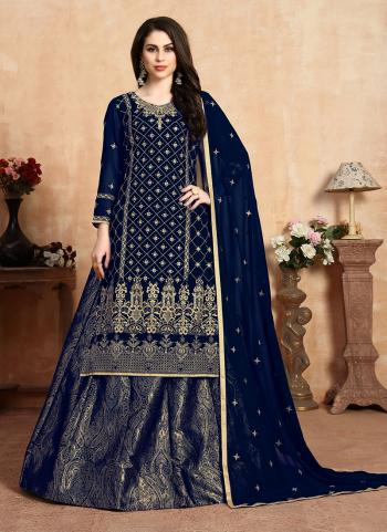 Navy Blue Faux Georgette Traditional Wear Embroidery Work Lehenga Suit