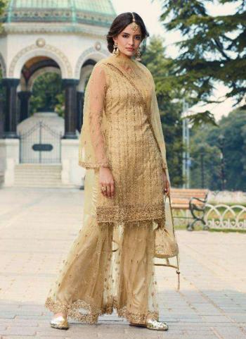 Beige Net Wedding Wear Thread Work Sharara Suit