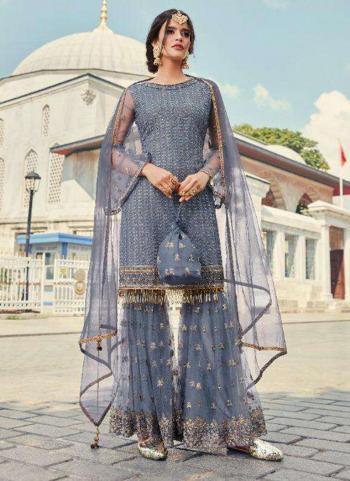 Grey Net Wedding Wear Thread Work Sharara Suit