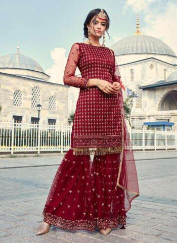 Red Net Wedding Wear Thread Work Sharara Suit
