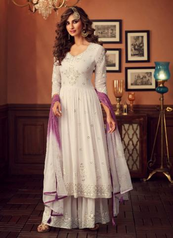 Off White Georgette Festival Wear Embroidery Work Sharara Suit