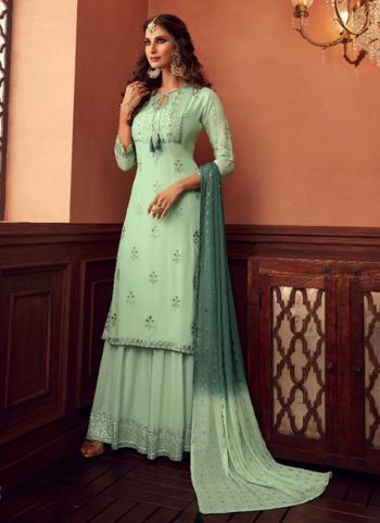 Pista Green Georgette Festival Wear Embroidery Work Sharara Suit