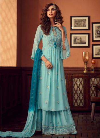 Sky Blue Georgette Festival Wear Embroidery Work Sharara Suit