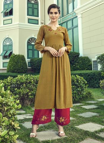 Green Cotton Slub Party Wear Embroidery Work Kurti With Palazzo