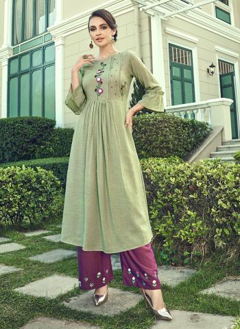 Light Green Cotton Slub Party Wear Embroidery Work Kurti With Palazzo