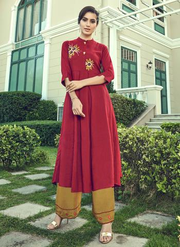 Violet Cotton Slub Party Wear Embroidery Work Kurti With Palazzo