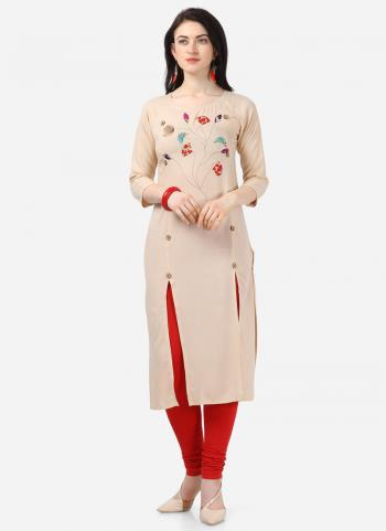 Beige Rayon Daily Wear Embroidery Work Kurti