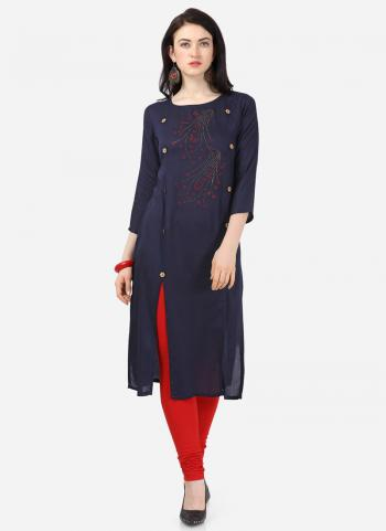 Navy Blue Rayon Daily Wear Embroidery Work Kurti