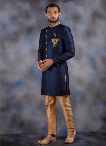 Navy Blue Imported Wedding Wear Patch Work Sherwani
