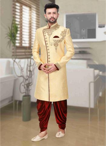 New Golden Embroidery Work Brocade Wedding Wear Dhoti Sherwani