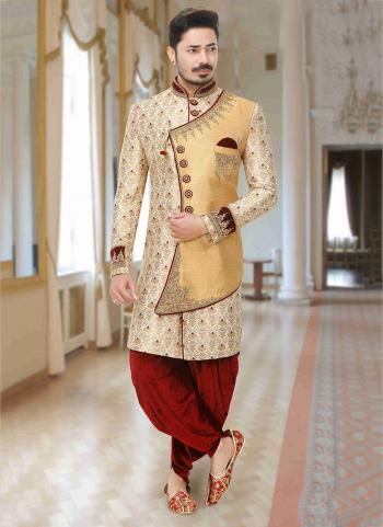 Beige Brocade Wedding Wear Embroidery Dhoti Sherwani