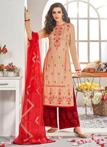 Peach Muslin Festival Wear Embroidery Work Readymade Palazzo Suit