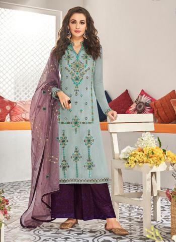 Sky Blue Muslin Festival Wear Embroidery Work Readymade Palazzo Suit