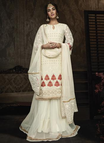 Cream Georgette Wedding Wear Embroidery Work Anarkali Suit