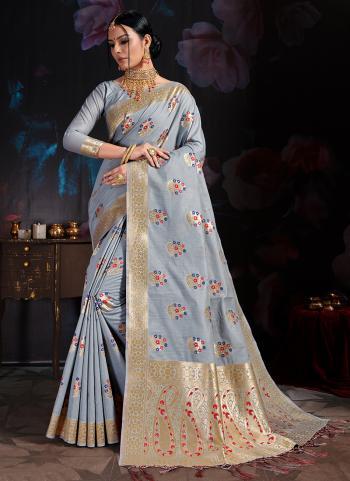 Grey Banarasi Party Wear Cotton Saree