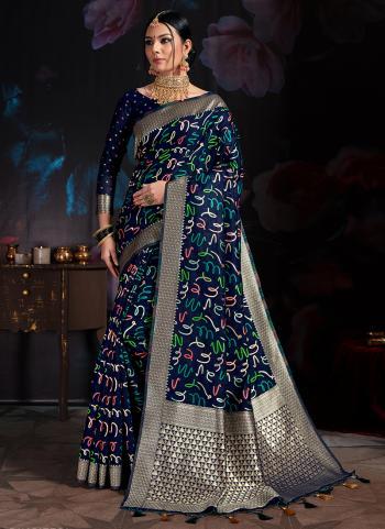Navy Blue Banarasi Silk Party Wear Cotton Printed Saree