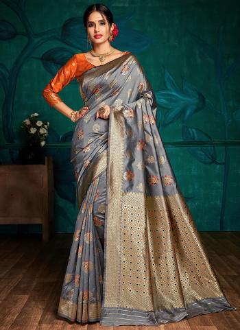Fancy Banarasi Silk Weaving Grey Party Wear Saree