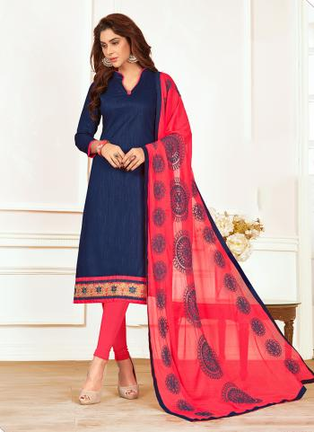 Nevy Blue Slub Cotton Regular Wear Lace Work Churidar Suit