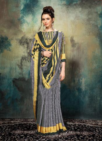 Grey Silk Casual Wear Printed Work Saree