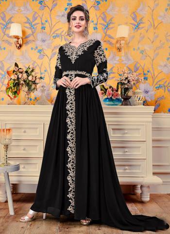 Black Embroidery Work Georgette Festival Wear Gown