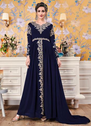 Navy Blue Embroidery Work Georgette Festival Wear Gown